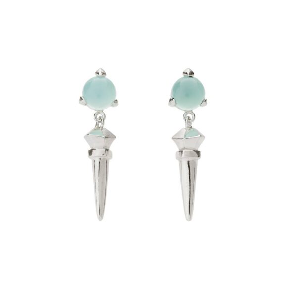 Bones Long Earrings Turquoise chalcedony monquer