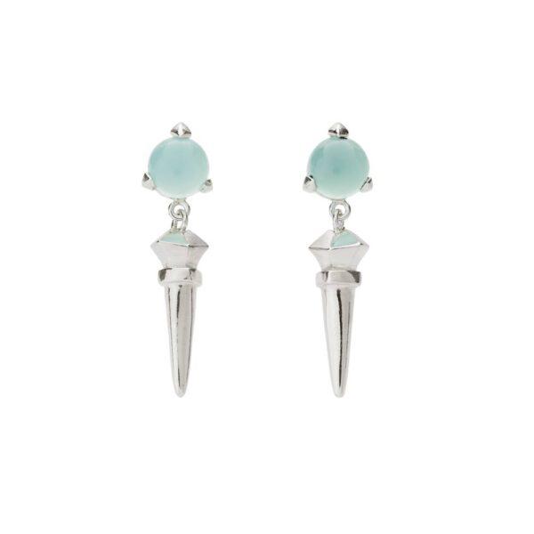 Bones Long Earrings Turquoise chalcedony monquer