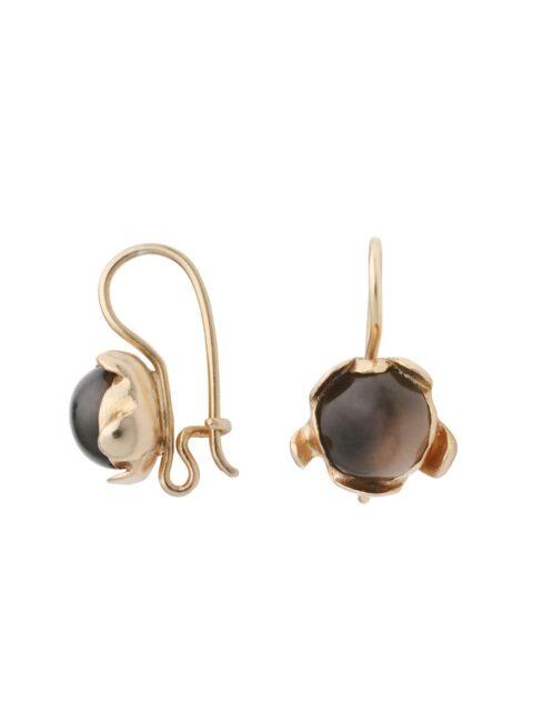 Blossom hook earrings smoky quartz