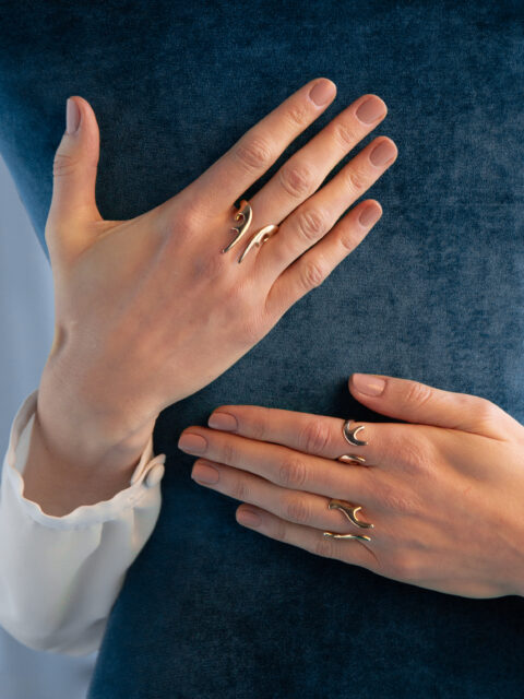 Hyrv jewelry ANTLERS collection gold plated silver rings