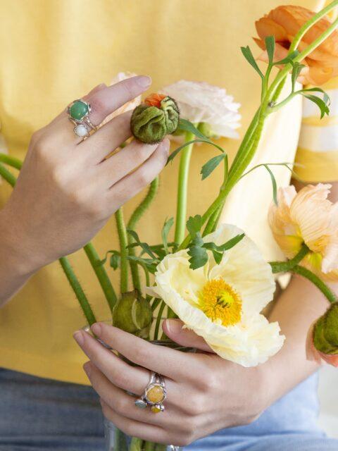 Blossom silver rings