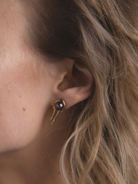 Hyrv ANTLER collection gold plated silver earring